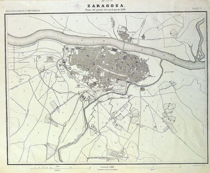 Plano de Zaragoza en 1808