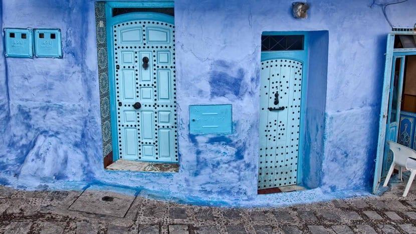 calles azules de marruecos