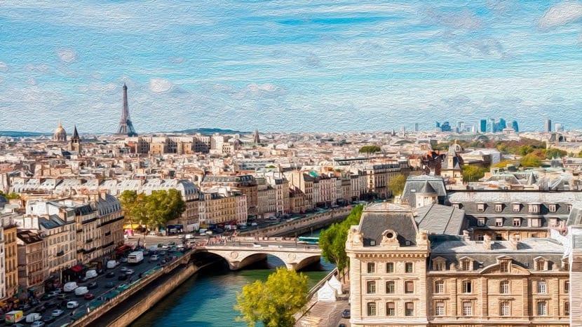 pintura de la ciudad de paris